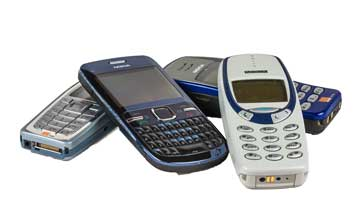 A selection of old cellphones that were used with the GSM cellular system